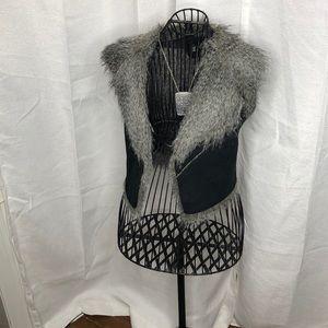 Suede & faux fur vest jacket